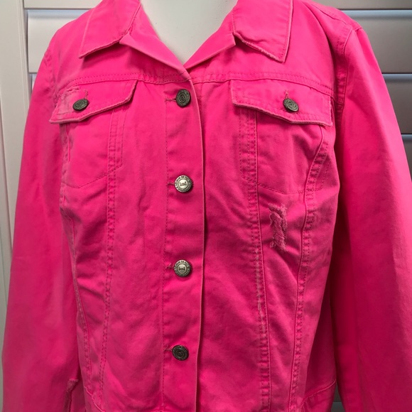 website for discount on wholesale best value Hot Neon Pink Denim Jean Jacket NWT